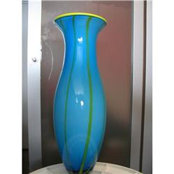 Italian Glass Striped Art Vase  #916996