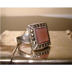 sterling silver marcasite mother of pearl ring #917025