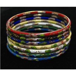 Cloisonne Enamel Bangle Bracelet Set #917028