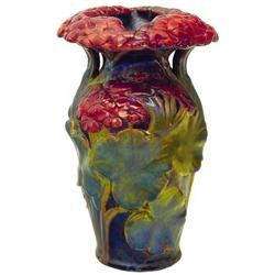 Vase with geranium décor, Zsolnay, end