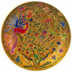 Ornamental plate with peafowl-décor, Zs