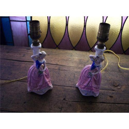 Pair Of Dresser Lamps Lady Figurine 904540