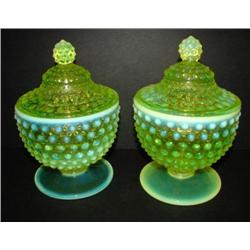PAIR OF VASELINE GLASS CANDY DISHES