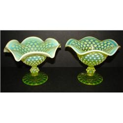 PAIR OF IMPERIAL VASELINE GLASS COMPOTE