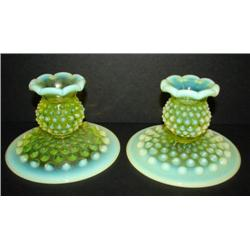PAIR OF VASELINE GLASS CANDLE HOLDERS