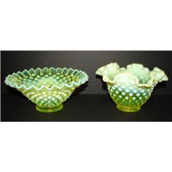 PAIR OF VASELINE GLASS SERVING DISHES