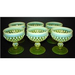 SET OF 6 SMALL IMPERIAL VASELINE GLASS