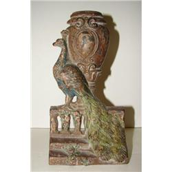 CAST-IRON PEACOCK & URN FORM DOOR STOP