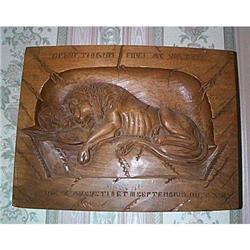 THE DYING LION OF LUCERNE CARVED WALL PLAQUE #1021293