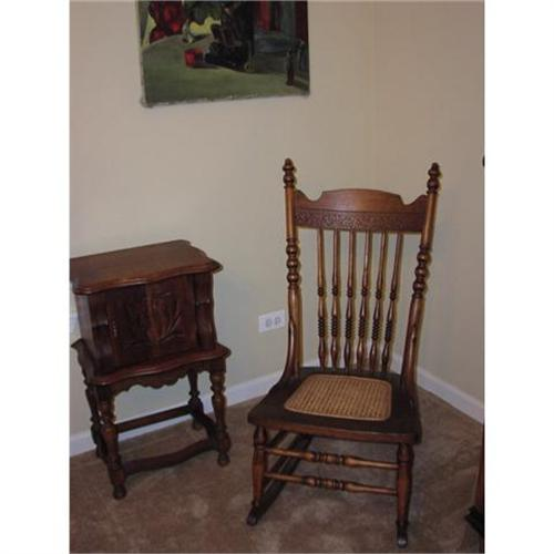 - Antique Oak Pressback Cane Seat Rocking Chair #1011130
