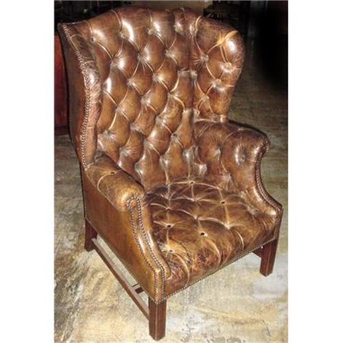 - 19th C.French Tufted Leather Wingback Chair #1037253