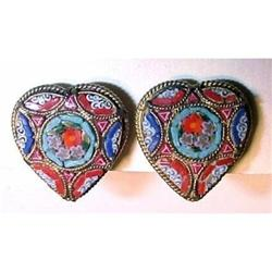 Antique Micro-Mosaic Earrings, Heart Shape #1020136