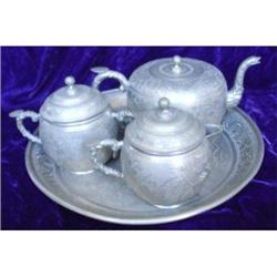 Chinese Pewter Kuthing Swatow Dragon Tea Set #1034585