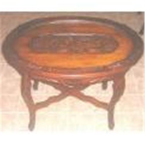 Vintage Oval Glass Tray Top Coffee Table Carved1073476