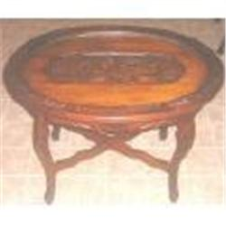 Vintage oval glass tray top coffee table carved1073476 for Antique coffee table with glass tray top