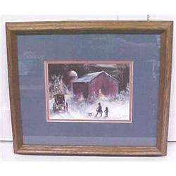 Amish Winter Barn Children Koenig Print 1992 #1043004