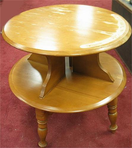 Vintage All Wood Two Tier Round Table S. Loading Zoom