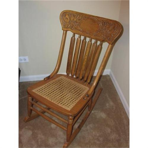 - Antique Pressback Cane Seat Rocking Chair #1108332