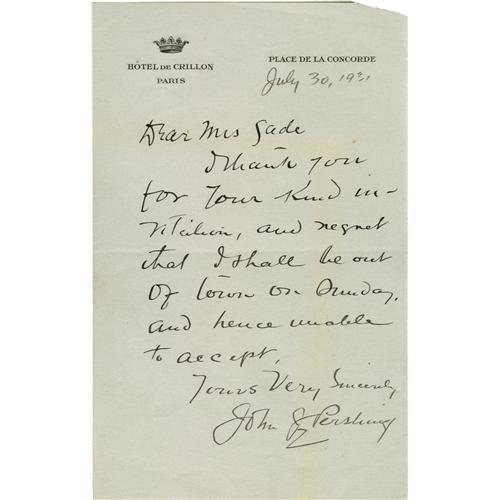 General John J Pershing Autograph Letter Signed