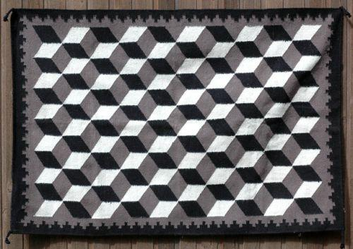 Navajo Rug with Optical Illusion Design