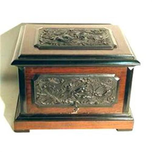 - Antique Carved Wood Cigar Cabinet Humidor #1219667