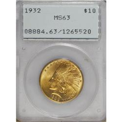1932 $10 MS63 PCGS. The vibrant canary-gold surfaces h
