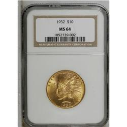 1932 $10 MS64 NGC. A nicely struck near-Gem with highl