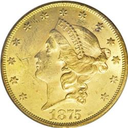 1875 $20 MS62 PCGS. David Bowers (2004) writes that th