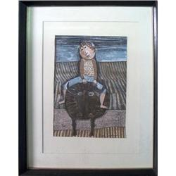 Limited Edition Boulanger   Boy on Bull Framed #1241006