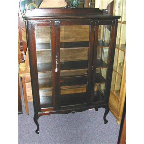 Queen Anne 1930's China Cabinet In Oak #1242075