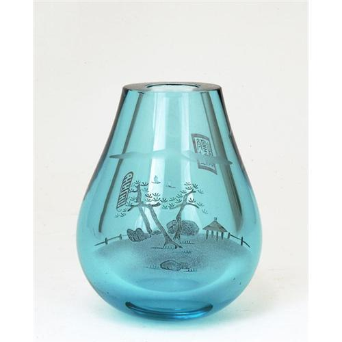 Chinese Acqua Color Thick Etching Glass Vase 1233693
