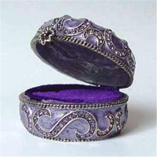 PURPLE TURKISH GOLD SWAROVSKI CRYSTAL JEWELRY BOX