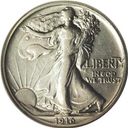 1916 50C Walking Liberty Half Dollar, Judd-1992, forme
