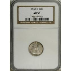 1838-O 10C No Stars AU55 NGC. Gold and lavender-gray w