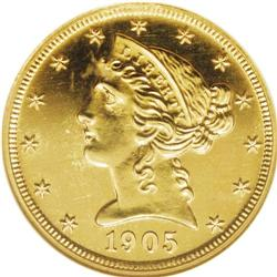 1905 $5 PR65 NGC. In the world of proof Liberty gold,