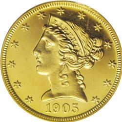 1905 $5 PR64 Cameo PCGS. This brilliant yellow-gold pr