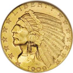 1909-D $5 MS65 NGC. The 1909-D Indian Head half eagle