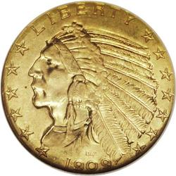 1909-D $5 MS65 NGC. The 1909-D half eagle, with a mint