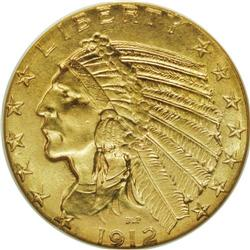 1912 $5 MS65 NGC. This Gem Indian Head half eagle is u