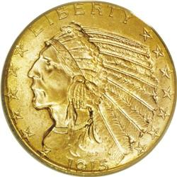 1915 $5 MS65 PCGS. The 1915 half eagle boasts a mintag