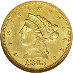 1845 $2 1/2 MS64 NGC. A bold and brilliant near-Gem ex