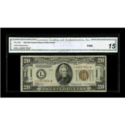 Fr. 2304* $20 1934 Hawaii Federal Reserve Note. CGA Fin