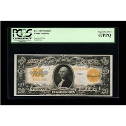 Fr. 1187 $20 1922 Gold Certificate PCGS Superb Gem New
