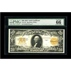 Fr. 1187 $20 1922 Gold Certificate PMG Gem Uncirculated 