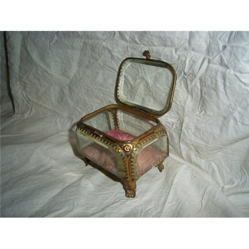 Antique beveled glass Jewelry Box 1296269