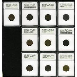 Ten Civil War Tokens ANACS.