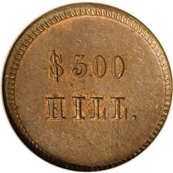 (1861-65) Hill $5.00, Fuld-OH-165BW-9a, R.9, MS64 Brown