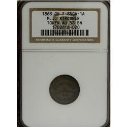1863 M.J. Kirchner, Tiffin, OH, AU58 NGC. Fuld-OH850A-1
