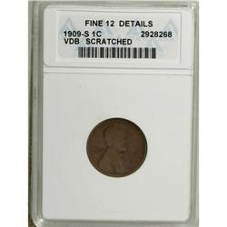 1909-S VDB 1C --Scratched--ANACS. Fine 12 Details. This