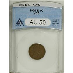 1909-S VDB 1C AU50 ANACS. Pleasing light to medium bro